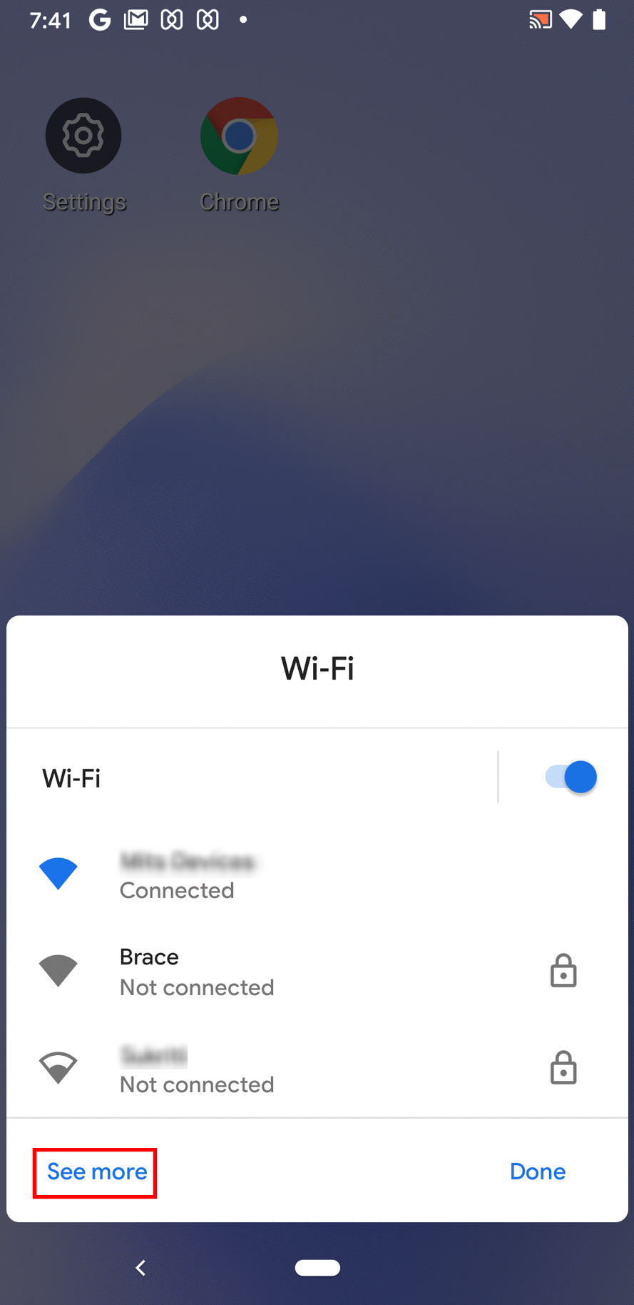 See More option in Wi-Fi panel