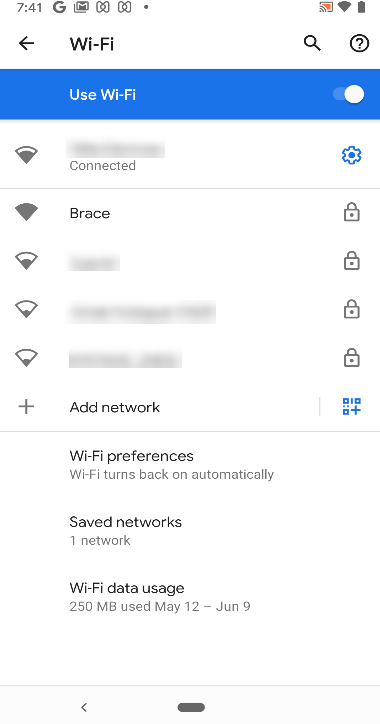 Android kiosk Wi-Fi settings page