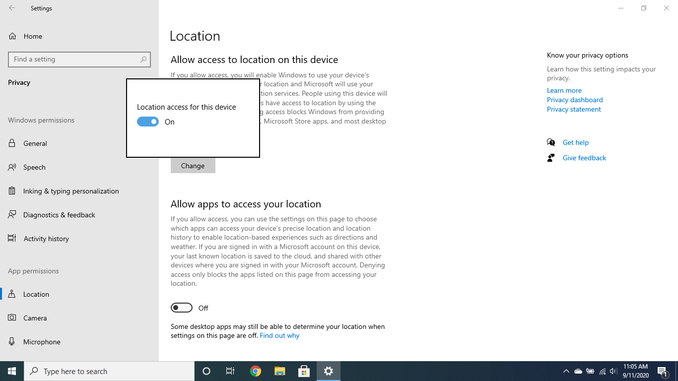 Enable location services for remote tracking