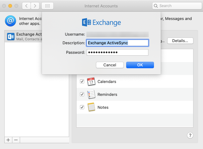 set up Exchange Active Sync settings on macOS