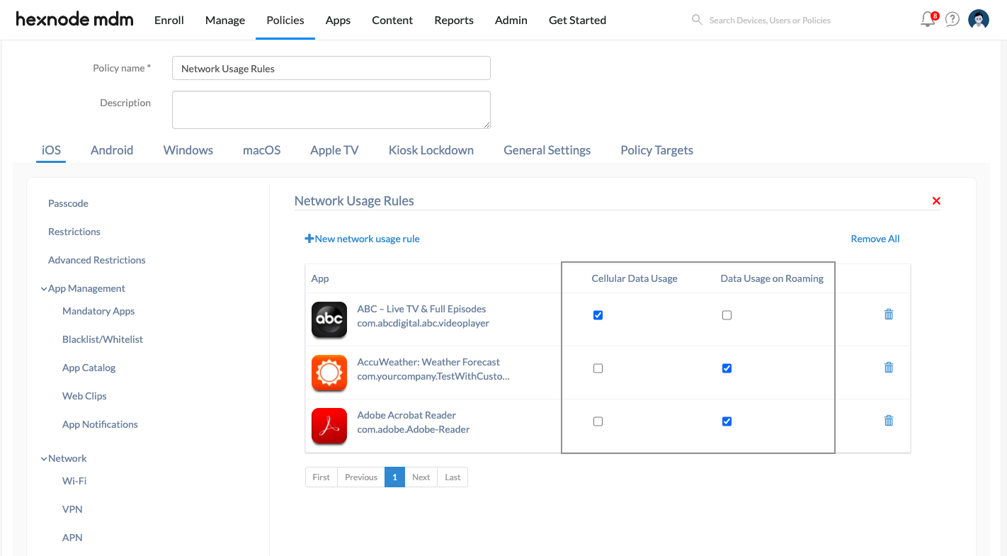 Configure iOS network data usage rules via Policies