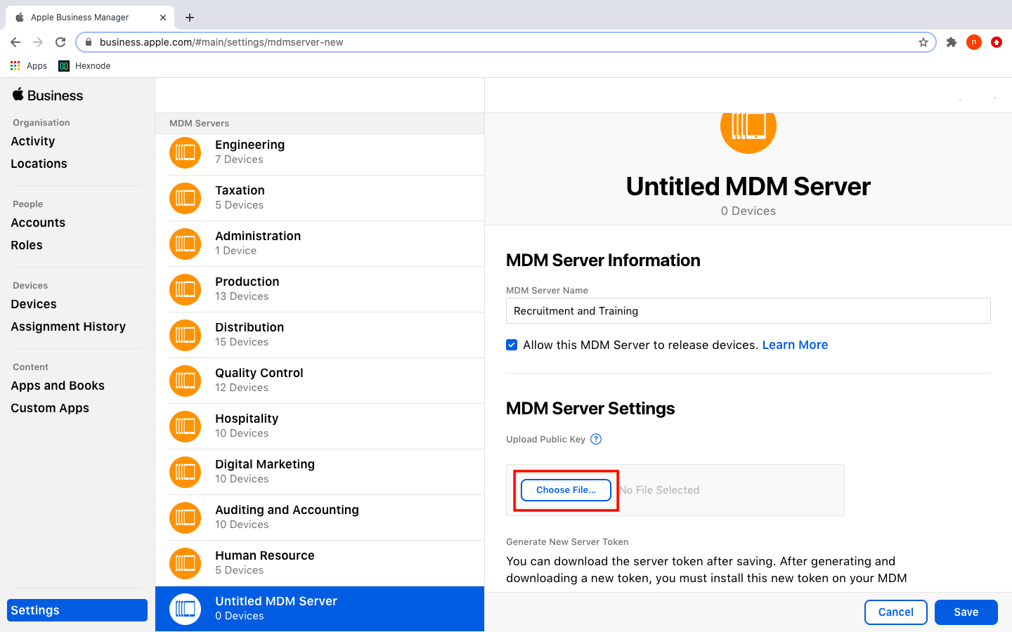 Add MDM server information from ABM account