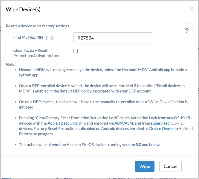 Complete device wipe using Hexnode MDM