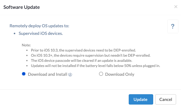 Enforce software update on ios device using hexnode mdm