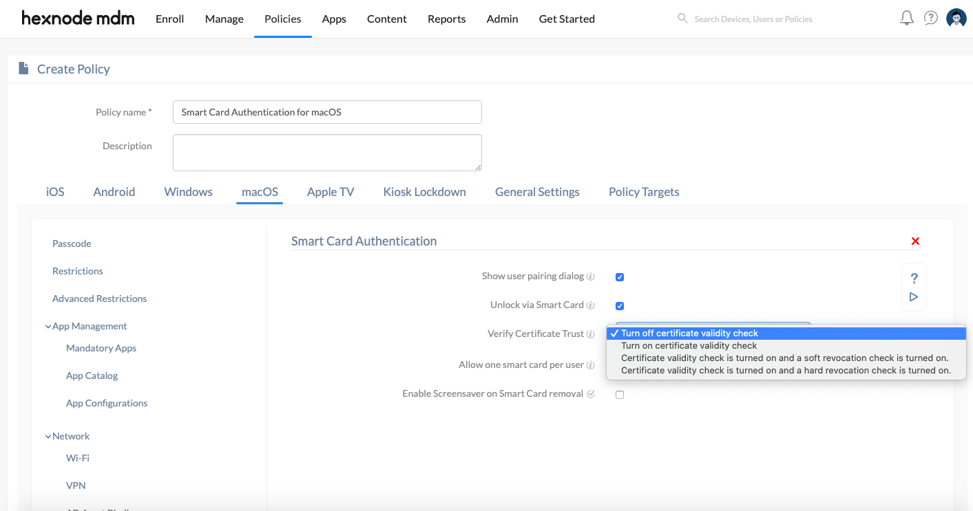 configure smart card authentication for macOS users
