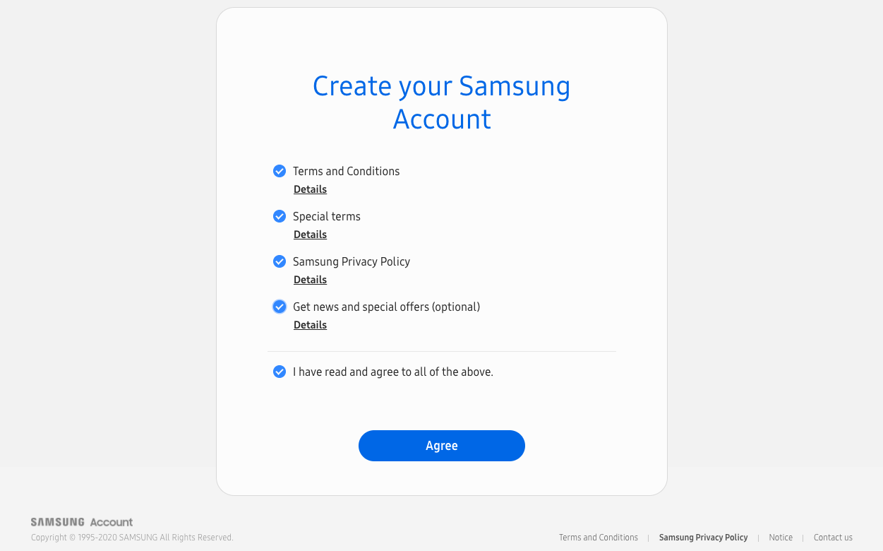 create your Samsung account – Agree the terms and conditions