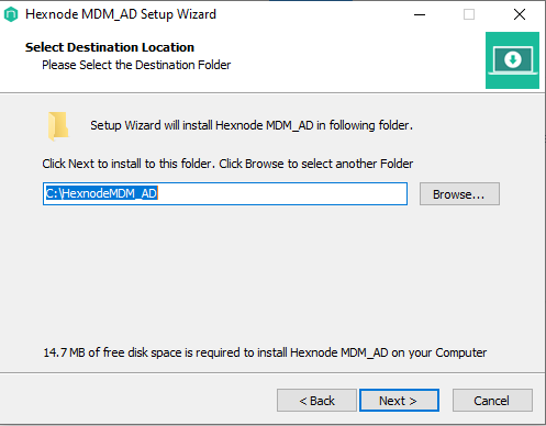 select the destination folder to Install the Hexnode MDM AD setup wizard on Windows device