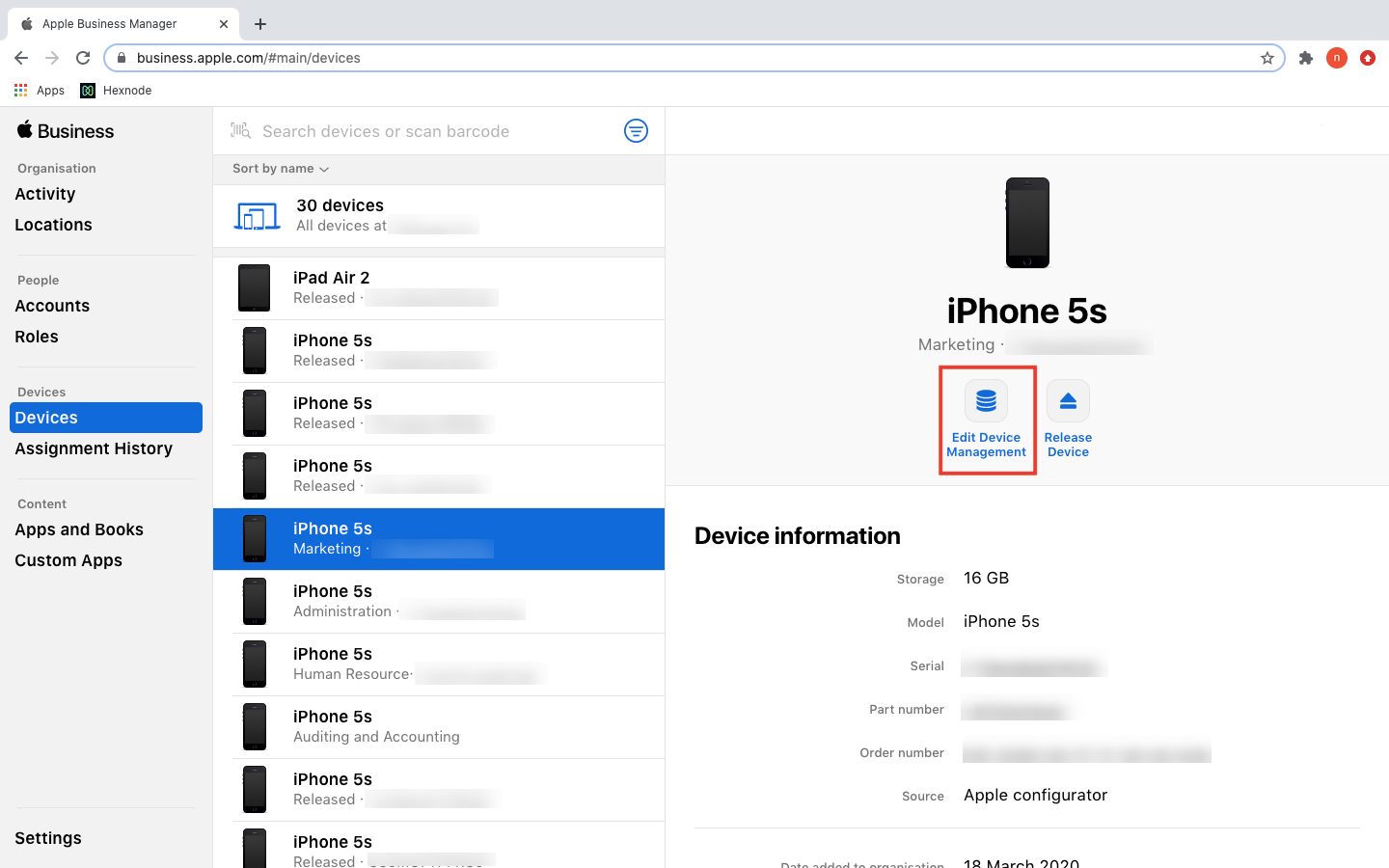 Supervised mode enabled on iOS device