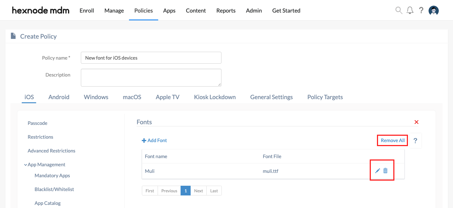 add new font files to iOS devices remotely via Hexnode MDM