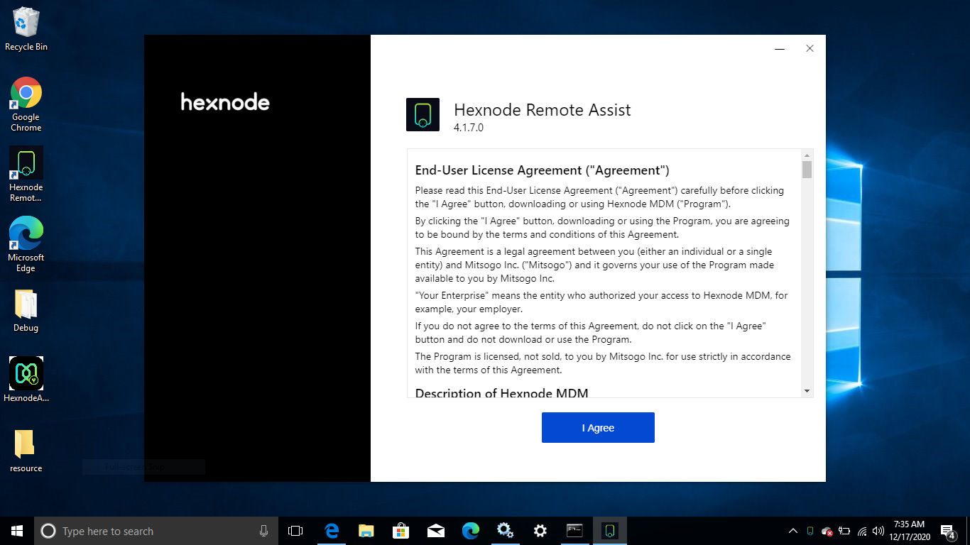 Agree the EULA terms and conditions for the Hexnode Remote Assist app