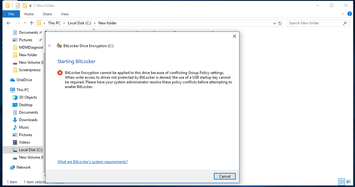 Group policy conflict during encryption initiation