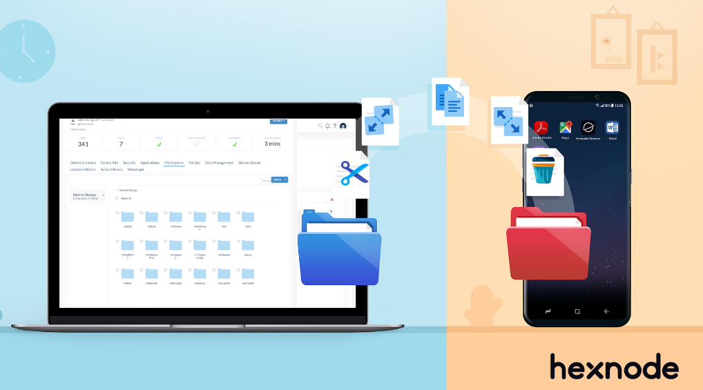 Manage files and folders using remote file explorer for Android devices via MDM
