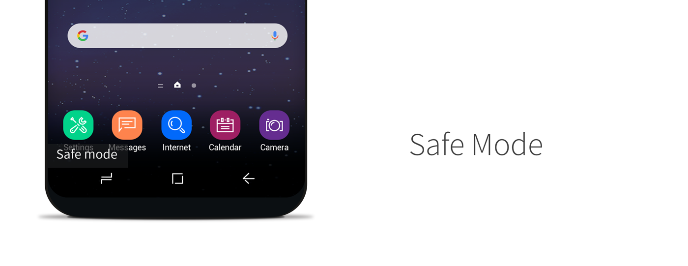 Safe Mode banner on an Android device