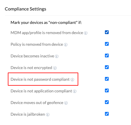 Use MDM to set password compliance settings to deactivate Android Enterprise work container on device non-compliance