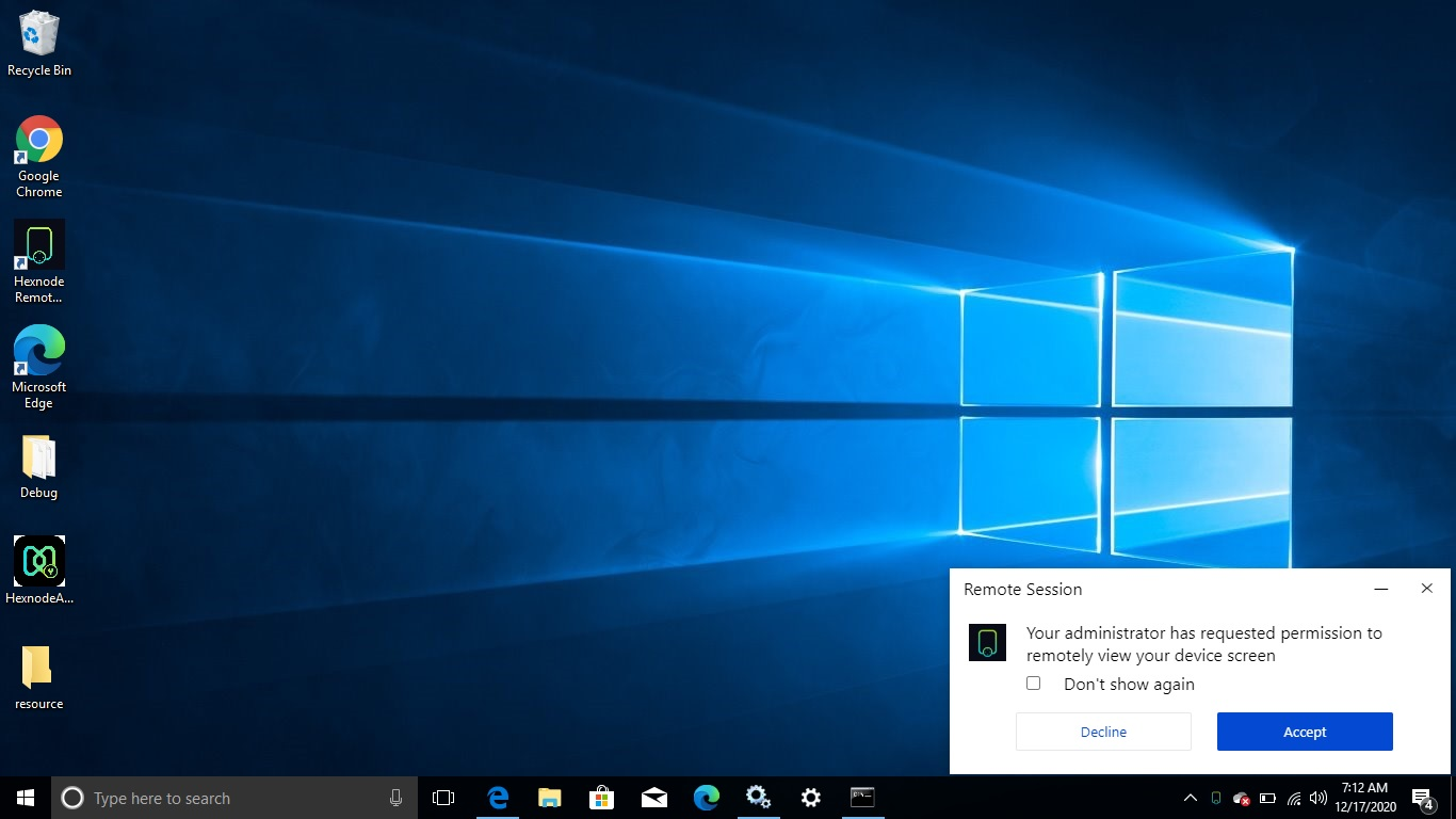 Hexnode Remote Assist prompts for permission to remotely view Windows device