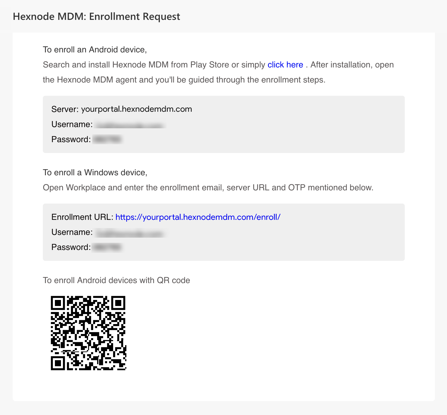 sent email request for authenticated enrollment