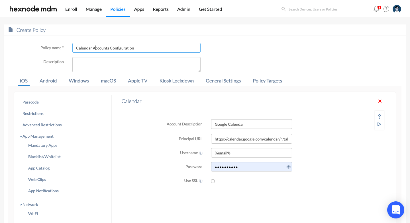 subscribed calendar configuration for account sync in iOS devices via the MDM