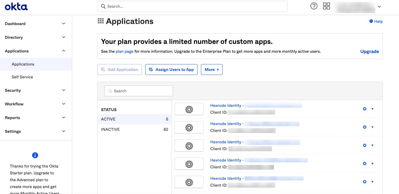 Hexnode Agent app in Okta portal