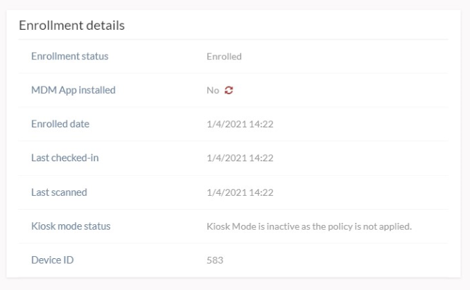 The Sync icon is shown beside the MDM App Installed status under Enrollment details