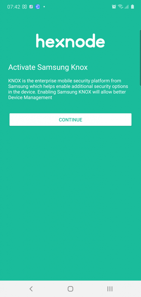 Upon successful device enrollment, the app on Samsung Knox devices show the Activate Samsung Knox page.