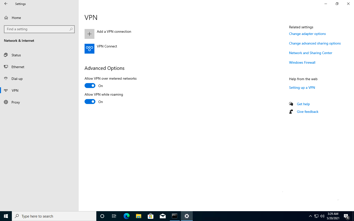 Configured VPN connection on the device.