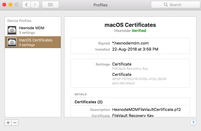 Certificates added to macOS devices using Hexnode MDM
