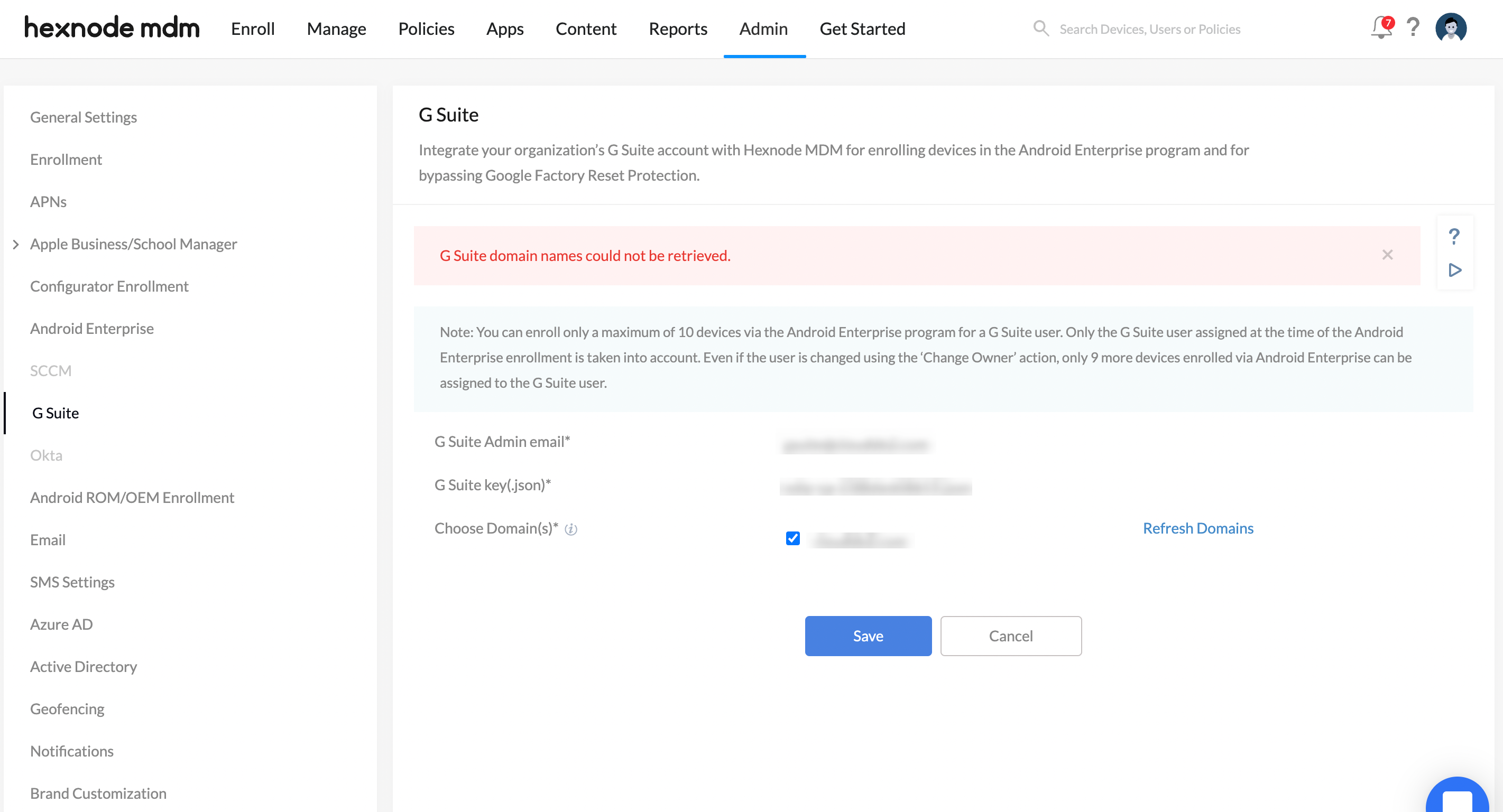 Error while integrating g suite with Hexnode - G Suite domain names could not be retrieved