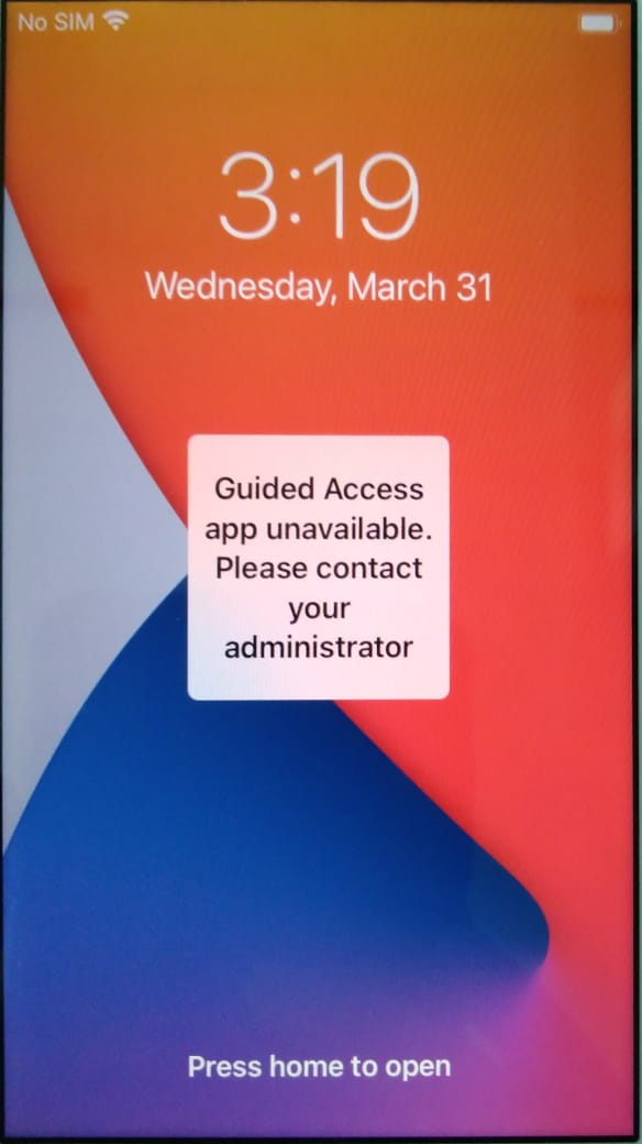 Guided access mode when Single app kiosk is configured