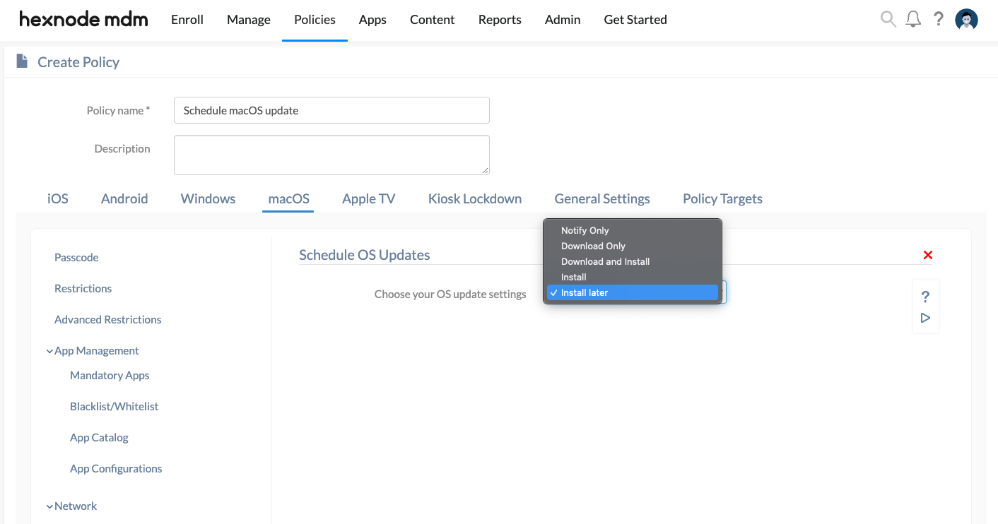 schedule OS updates on Mac devices from Hexnode MDM console