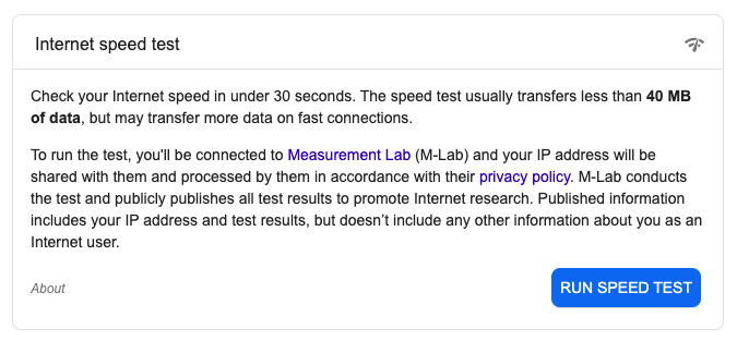 click on the button to start running the speed test