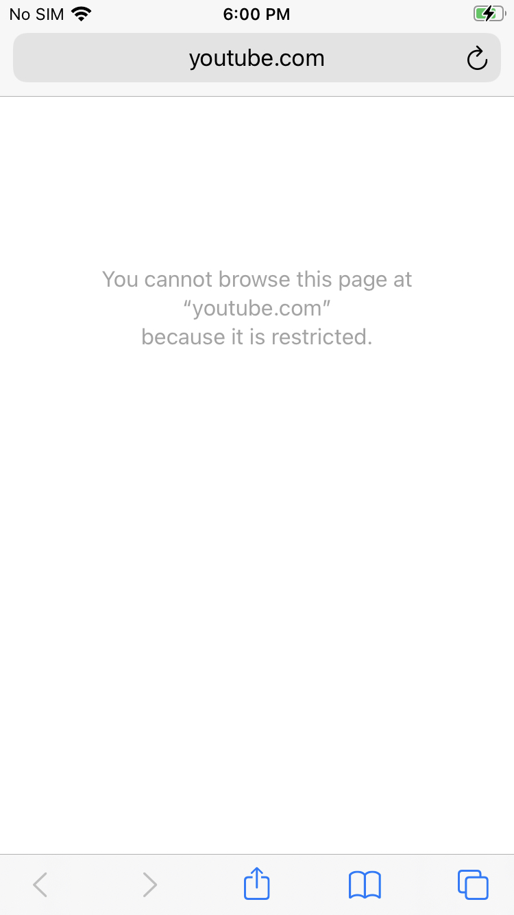 Restricted access to Youtube – iOS web content filtering